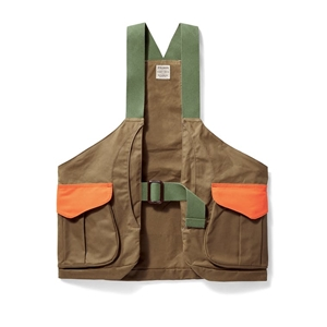 Filson Shelter Cloth Strap Vest Dark Tan and Blaze