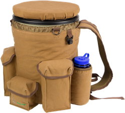 NEW Insulated Venture Bucket Pack, Brown Duck Canvas bucket carrier, bucket backpack, bucket seat, dove bucket, duck bucket, dove hunting gear, dove seat, sports bucket, sportsmens bucket, field bucket, fishing bucket seat, fishing, bucket, dove chair, dove hunting seat, dove hunting bucket, dove hunting cooler, hunting bucket, hunting bucket pack, hunting bucket backpack, hunting bucket with spin lid, hunting backpack cooler, hunting bucket cooler