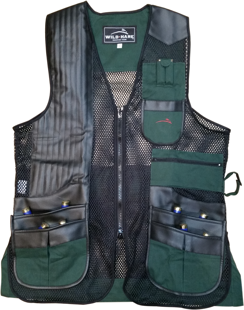 NEW Wild Hare Classy Clays Mesh Vest -- Hunter Green/Black mesh shooting vest, heatwave, trap, skeet, sporting clays vest, reactar pad