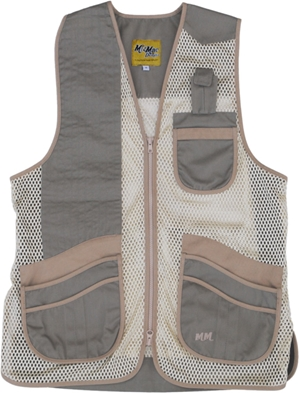 MizMac Womens Comfort Fit Mesh Vest - Sage and Khaki womens shooting vest, mesh vest, leather shooting vest, leatherette vest, adjustable vest