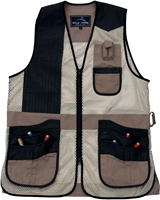 New! Wild Hare Range Vest Leather and Mesh  -- Khaki and Black mesh shooting vest, heatwave, trap, skeet, sporting clays vest, leather trap vest, leather shooting vest, wild hare vest, wild hare shooting gear