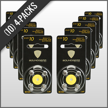 Replacement Batteries for Ear Plugs -- 10 packs of 4