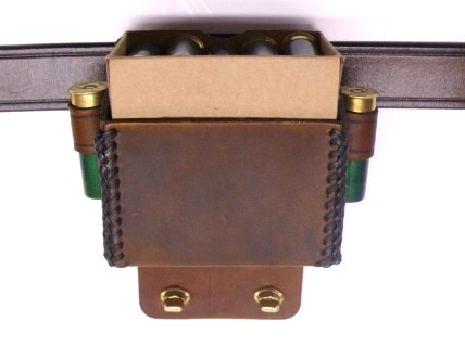 Shamrock Leathers 1-Box Carrier with Hull Pouch Adapter Leather shotshell box holder, 1-box carrier, hull pouch adapter