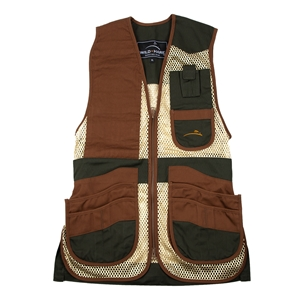 Wild Hare Heatwave Mesh Vest -- Forest Green & Brown mesh shooting vest, heatwave, trap, skeet, sporting clays vest, shockeater, wild hare, wild hare vest