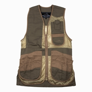 Wild Hare Heatwave Mesh Vest -- Sage and Khaki mesh shooting vest, heatwave, trap, skeet, sporting clays vest, reactar pad