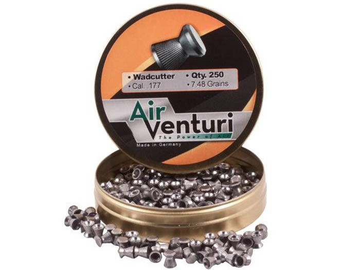 Air Venturi Pellets, .177 Cal, 7.48 Grains, Wadcutter, 250ct wadcutter pellets, 7 grain, air gun ammo